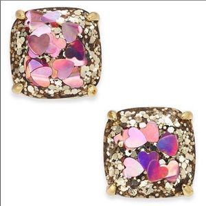 kate spade Jewelry - KATE SPADE NY GLITTER HEART STUDS